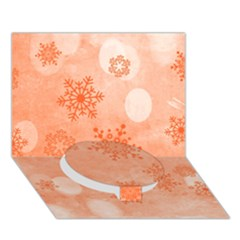 Winter Bokeh Red Circle Bottom 3d Greeting Card (7x5)
