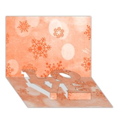 Winter Bokeh Red LOVE Bottom 3D Greeting Card (7x5)