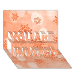 Winter Bokeh Red You Are Invited 3d Greeting Card (7x5)