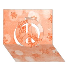 Winter Bokeh Red Peace Sign 3D Greeting Card (7x5)