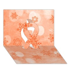 Winter Bokeh Red Ribbon 3d Greeting Card (7x5)