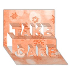 Winter Bokeh Red TAKE CARE 3D Greeting Card (7x5)