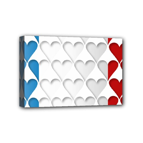 France Hearts Flag Mini Canvas 6  x 4