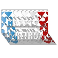 France Hearts Flag Happy Birthday 3d Greeting Card (8x4)