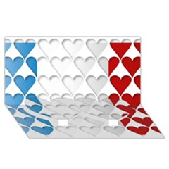 France Hearts Flag Twin Heart Bottom 3d Greeting Card (8x4)