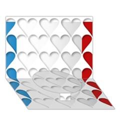 France Hearts Flag Circle Bottom 3d Greeting Card (7x5)