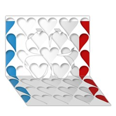France Hearts Flag Clover 3D Greeting Card (7x5)