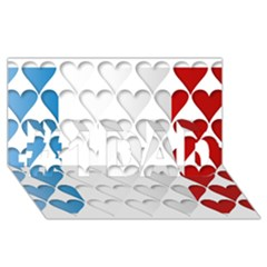 France Hearts Flag #1 Dad 3d Greeting Card (8x4)