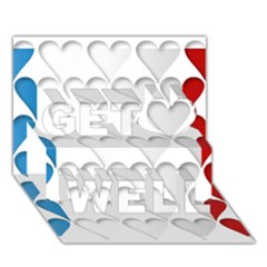 France Hearts Flag Get Well 3D Greeting Card (7x5)