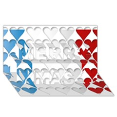France Hearts Flag Merry Xmas 3D Greeting Card (8x4)