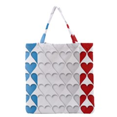 France Hearts Flag Grocery Tote Bags