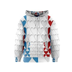 France Hearts Flag Kids Zipper Hoodies