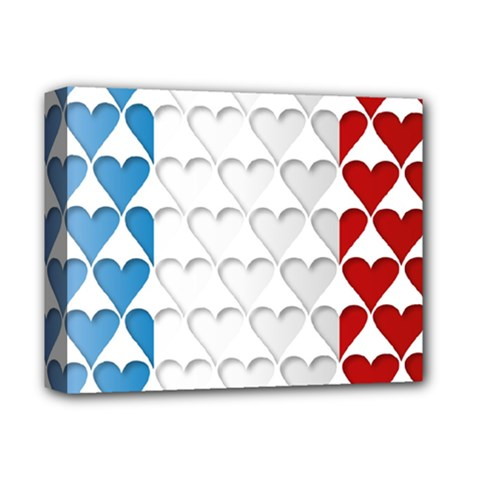 France Hearts Flag Deluxe Canvas 14  x 11
