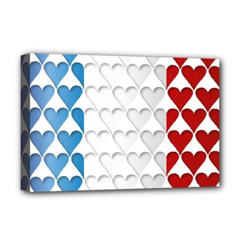 France Hearts Flag Deluxe Canvas 18  x 12