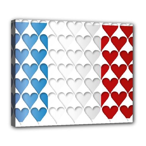 France Hearts Flag Deluxe Canvas 24  x 20