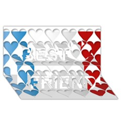 France Hearts Flag Best Friends 3d Greeting Card (8x4)