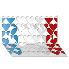 France Hearts Flag Twin Hearts 3D Greeting Card (8x4)