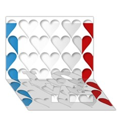 France Hearts Flag LOVE Bottom 3D Greeting Card (7x5)