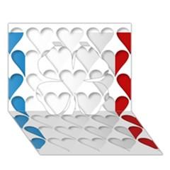 France Hearts Flag Clover 3d Greeting Card (7x5)