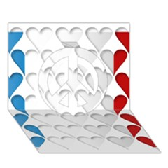 France Hearts Flag Peace Sign 3D Greeting Card (7x5)