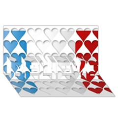 France Hearts Flag BELIEVE 3D Greeting Card (8x4)