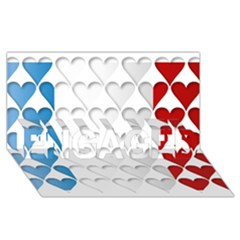France Hearts Flag ENGAGED 3D Greeting Card (8x4)