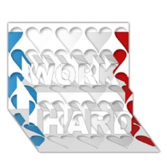 France Hearts Flag WORK HARD 3D Greeting Card (7x5)