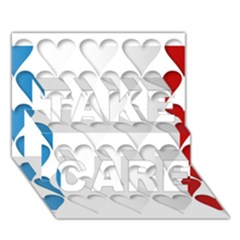 France Hearts Flag Take Care 3d Greeting Card (7x5)