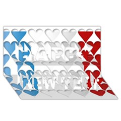 France Hearts Flag Happy New Year 3D Greeting Card (8x4)