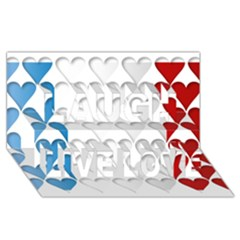 France Hearts Flag Laugh Live Love 3D Greeting Card (8x4)