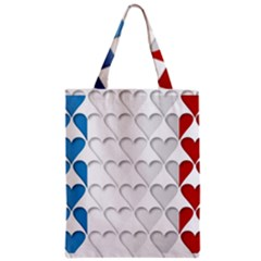 France Hearts Flag Zipper Classic Tote Bags