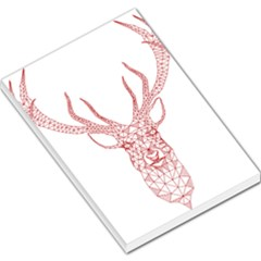Modern red geometric christmas deer illustration Large Memo Pads