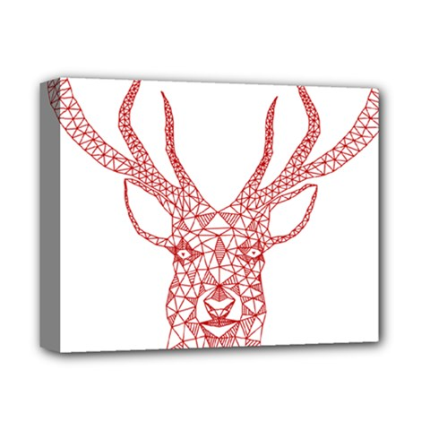 Modern red geometric christmas deer illustration Deluxe Canvas 14  x 11