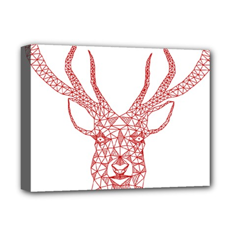 Modern red geometric christmas deer illustration Deluxe Canvas 16  x 12