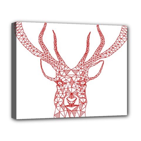 Modern red geometric christmas deer illustration Deluxe Canvas 20  x 16