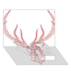 Modern Red Geometric Christmas Deer Illustration Love Bottom 3d Greeting Card (7x5)