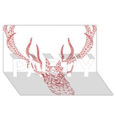 Modern red geometric christmas deer illustration PARTY 3D Greeting Card (8x4)