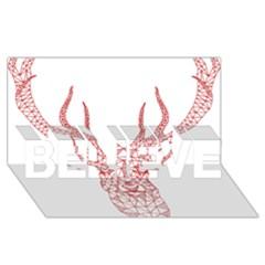 Modern red geometric christmas deer illustration BELIEVE 3D Greeting Card (8x4)