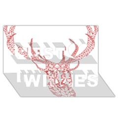 Modern red geometric christmas deer illustration Best Wish 3D Greeting Card (8x4)