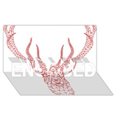 Modern red geometric christmas deer illustration ENGAGED 3D Greeting Card (8x4)