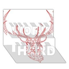 Modern red geometric christmas deer illustration WORK HARD 3D Greeting Card (7x5)