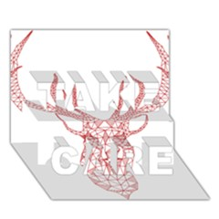 Modern Red Geometric Christmas Deer Illustration Take Care 3d Greeting Card (7x5)