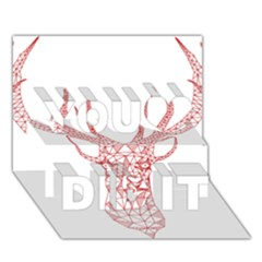 Modern Red Geometric Christmas Deer Illustration You Did It 3d Greeting Card (7x5)