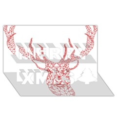 Modern red geometric christmas deer illustration Merry Xmas 3D Greeting Card (8x4)