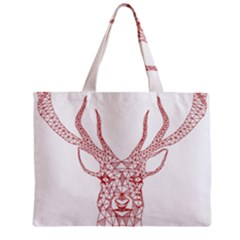 Modern Red Geometric Christmas Deer Illustration Zipper Tiny Tote Bags