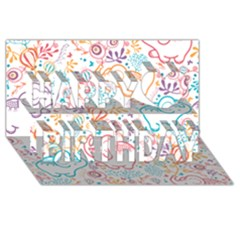 Cute Pastel Tones Elephant Pattern Happy Birthday 3d Greeting Card (8x4)