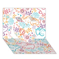 Cute pastel tones elephant pattern Heart 3D Greeting Card (7x5)