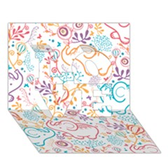Cute pastel tones elephant pattern LOVE 3D Greeting Card (7x5)