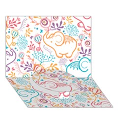 Cute pastel tones elephant pattern Circle Bottom 3D Greeting Card (7x5)