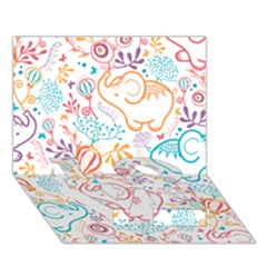 Cute pastel tones elephant pattern LOVE Bottom 3D Greeting Card (7x5)